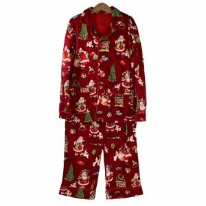 Kids Nick & Nora Pajama Set Top Pants Retro Classic Santa Christmas Red